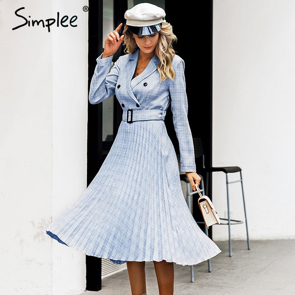Simplee Vintage pleated belt plaid dress women Elegant office ladies blazer dresses Long sleeve female autumn midi party dress