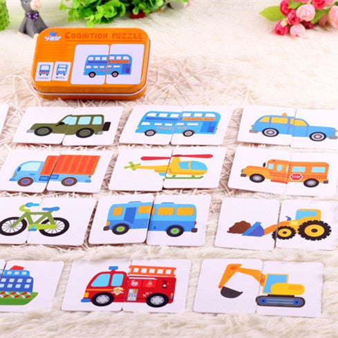 Puzzle Card Cartoon Vehicle Learning Pocket Flash Card
