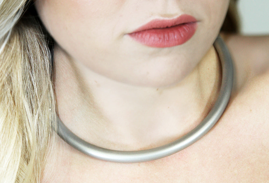 Satin Eternity Collar on Blonde Woman
