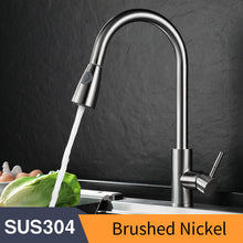 Load image into Gallery viewer, Kitchen Faucets Silver Single Handle Pull Out Kitchen Tap Single Hole Handle Swivel 360 Degree Water Mixer Tap Mixer Tap 408906