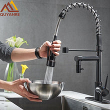 Load image into Gallery viewer, Blackend Spring Kitchen Faucet Pull out Side Sprayer Dual Spout Single Handle Mixer Tap Sink Faucet 360 Rotation Kitchen Faucets
