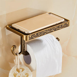 Antique Carved Zinc Alloy Bathroom Paper Mobile Phone Holder With Shelf Bathroom Towel Rack Toilet Paper Holder Tissue Boxes