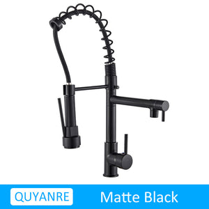 Blackend Spring Kitchen Faucet Pull out Side Sprayer Dual Spout Single Handle Mixer Tap Sink Faucet 360 Rotation Kitchen Faucets