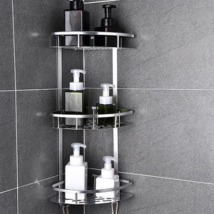 Space Aluminum Bathroom Shelf No Punching Shower Caddy Sheves Kitchen Storage Basket Adhesive Suction Corner Shelves Shower