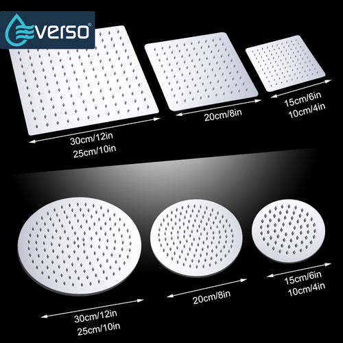 EVERSO 12/10/8/6/4 inch Rainfall Shower Head Stainless Steel Ultra-thin Shower Heads Chrome Finish Round & Square Rain Shower