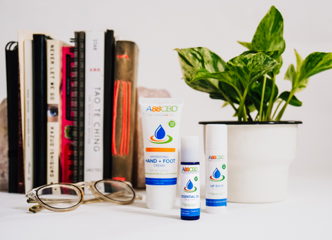 topical CBD products with books