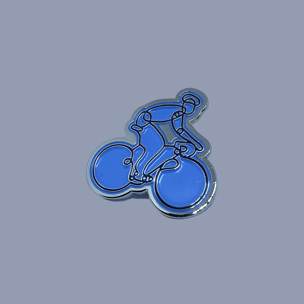 Cyclist Pin Badge - Light Blue / Dark Blue