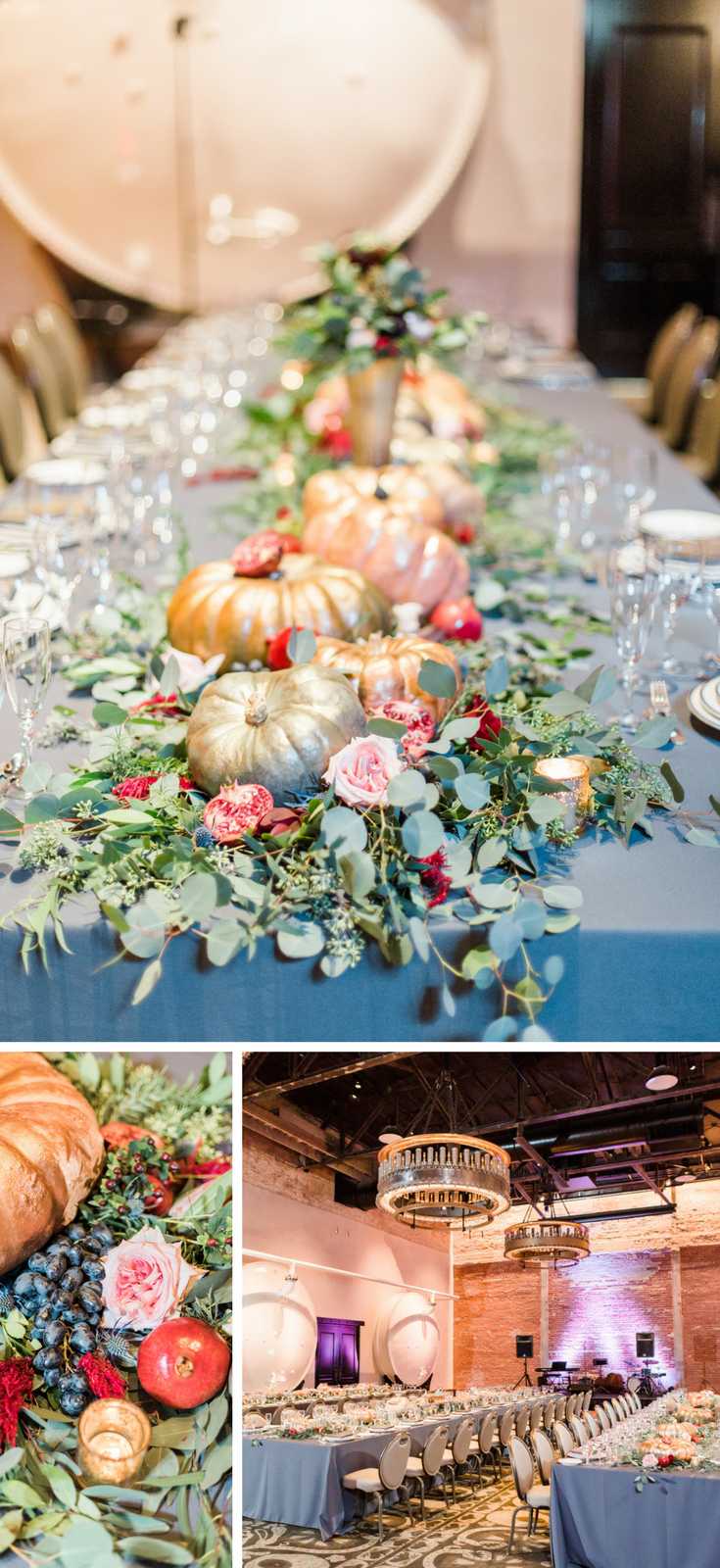 Fall Hotel Emma Wedding - San Antonio, Texas | Unique Wedding Reception Details. Pumpkins and Pomegranates Wedding Tablescape
