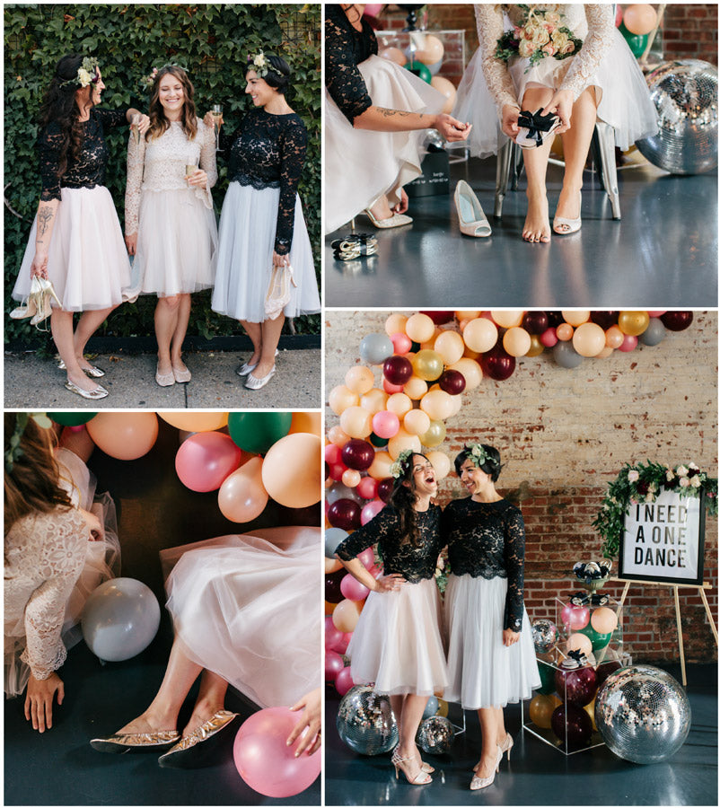 Perfectly curated, artfully designed, foldable ballet flats that we vow will keep your wedding guests dancing all night long.