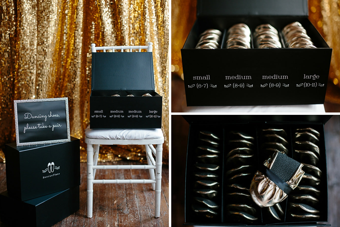 Rescue Flats | http://rescueflats.com/ | Luxury Dancing Slipper Wedding Favors In A Couture Box | Gold Foldable Ballet Flats