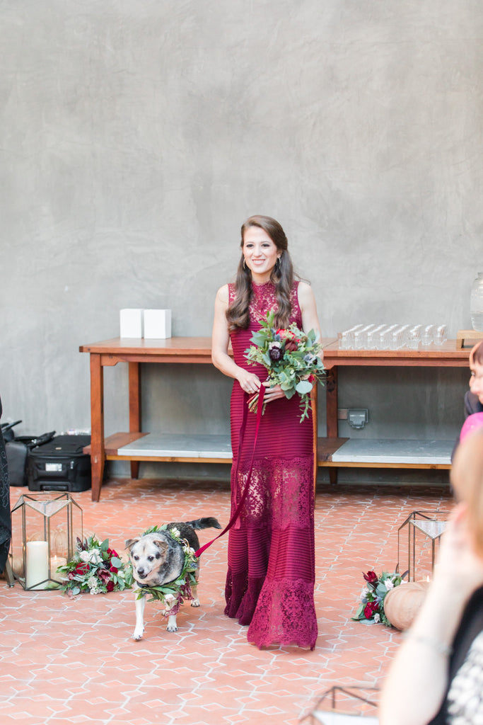 Fall Hotel Emma Wedding - San Antonio, Texas | Wedding Dog Walking Bridesmaid Down The Aisle