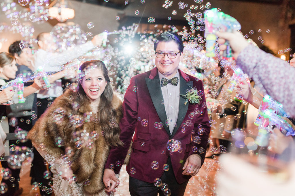 Fun Wedding Reception Exit at Hotel Emma | Bubble Gun Exit