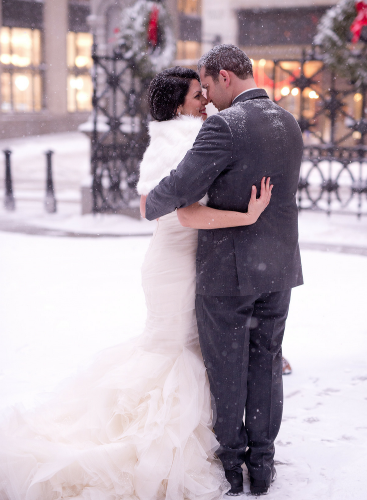 Winter Boston Bride In A Vera Wang Wedding Dress And Groom