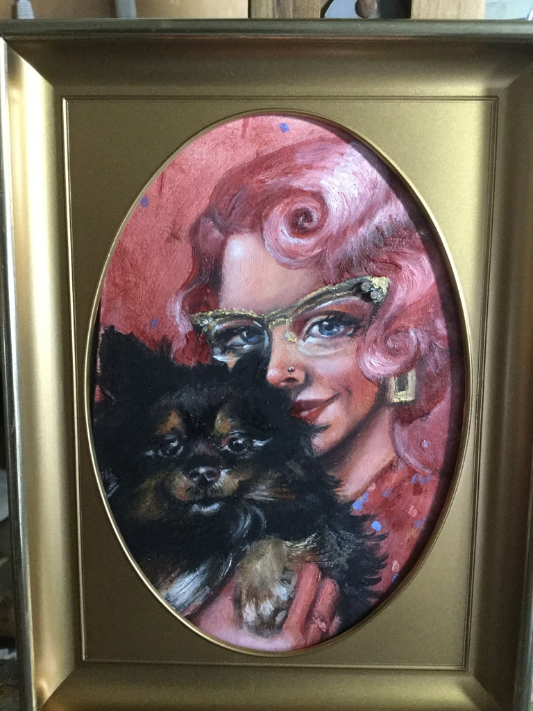 Pose with animal companions custom oil on panel 5 by 7