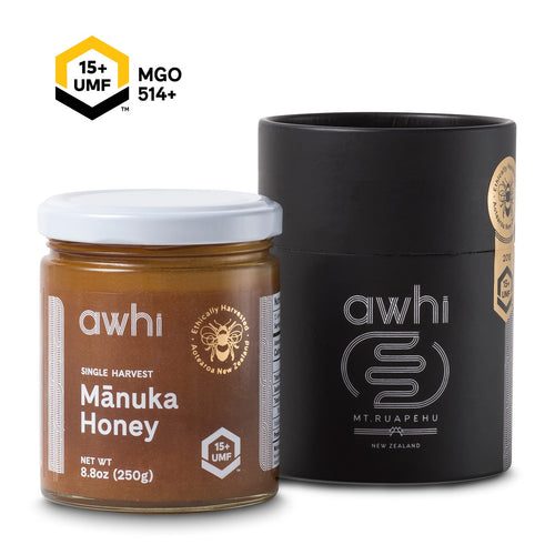 UMF15+ Awhi Single Harvest Manuka Honey (MGO514+) 8.8oz