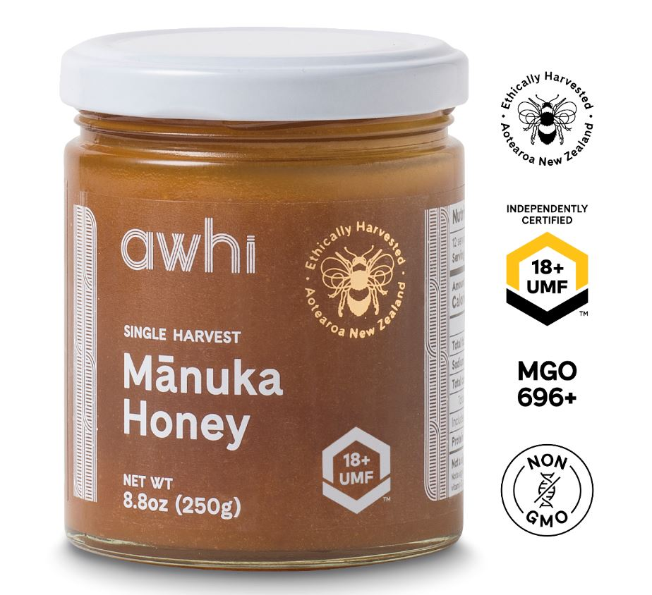 UMF18+ Awhi Single Harvest Manuka Honey (MGO696+) 8.8oz
