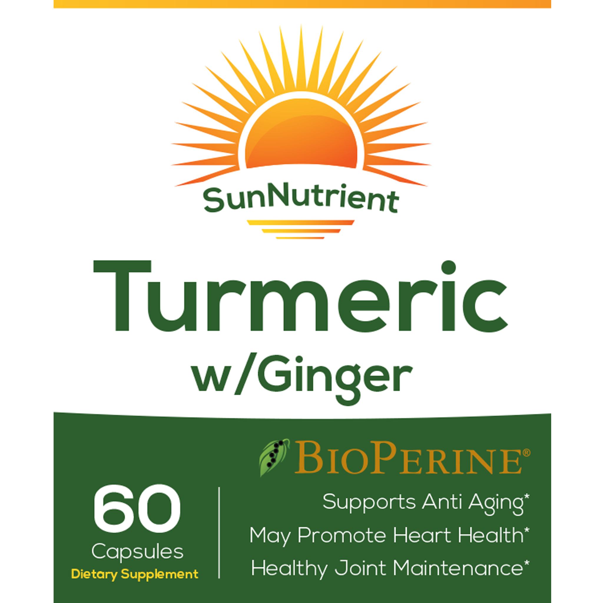 SunNutrient tumeric with ginger supplement Front Label