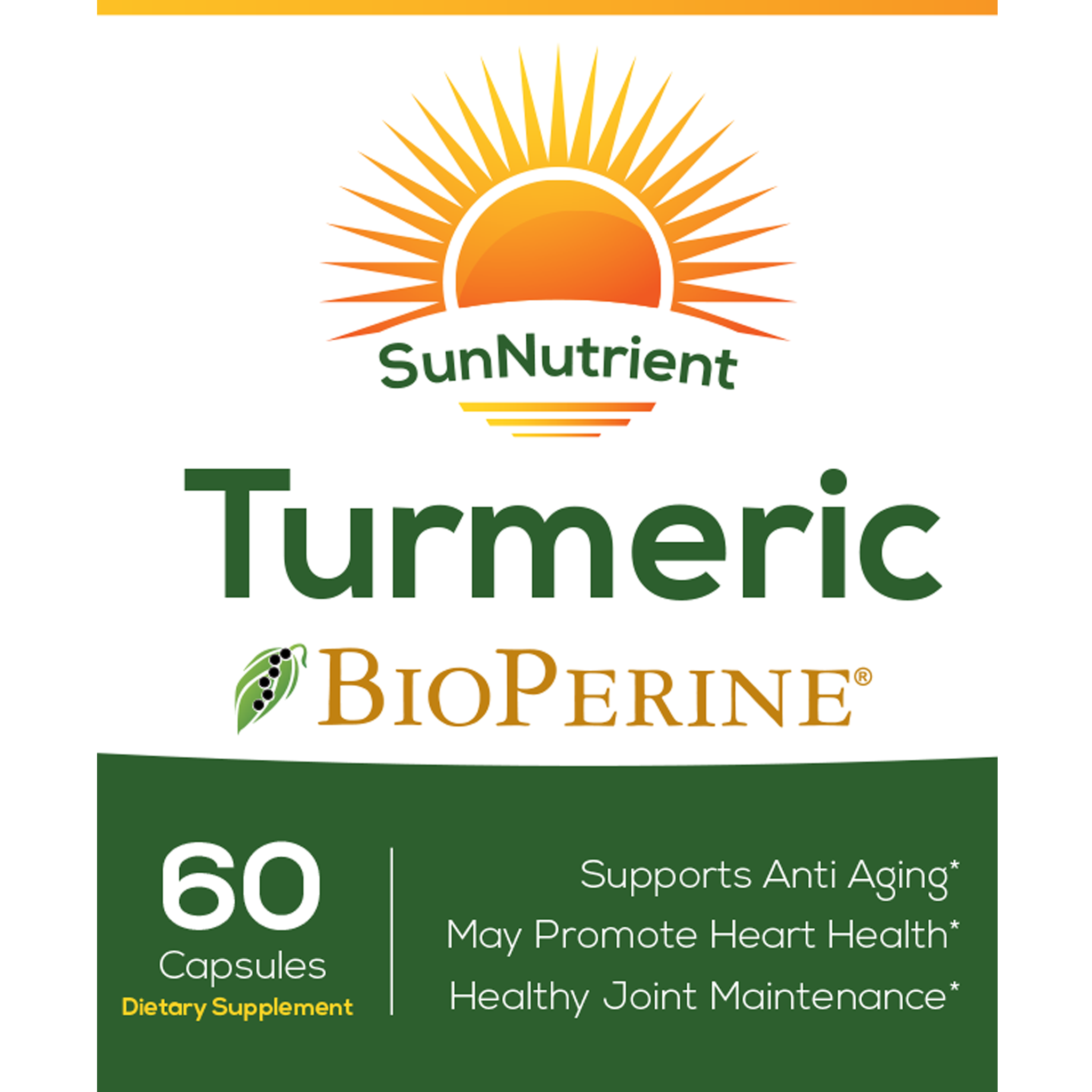 SunNutrient organic tumeric supplement with bioperine Front Label