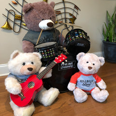 Slyde Wright and his band: Three cute Teddy Bears wearing Hillbilly Love shirts and playing their instruments