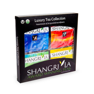 Organic Luxury Tea Collection  - Assortment of 20 Silken Pyramid Sachet Infusers