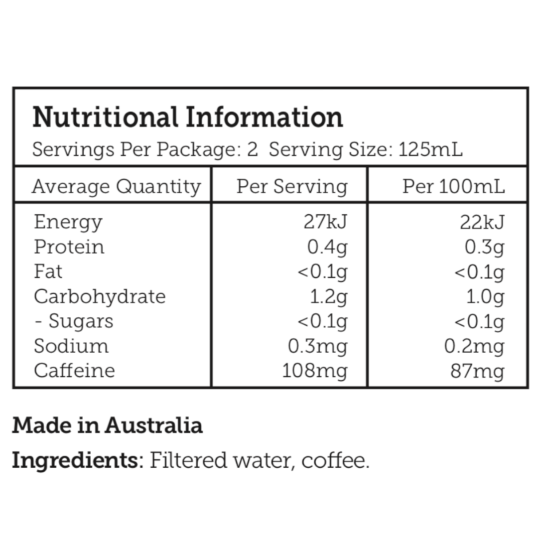 First Press Coffee - The Purest Cold Drip Coffee - Nutritional Information Panel