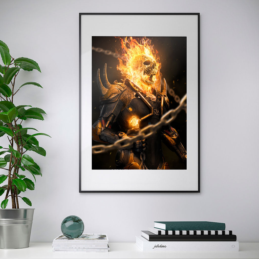 Front preview of the Anthem Rider print framed on a wall in a black frame.
