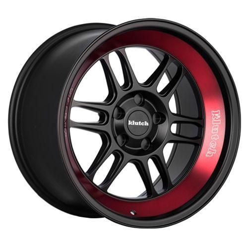 Klutch Wheels ML1 (Deep) Matte Black Red Stripe