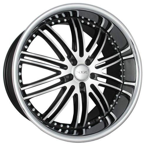 XIX Wheels X23 Black Machind Face Stainless Steel Lip