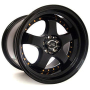 JNC Wheels JNC017 Gloss Black Gold Rivets