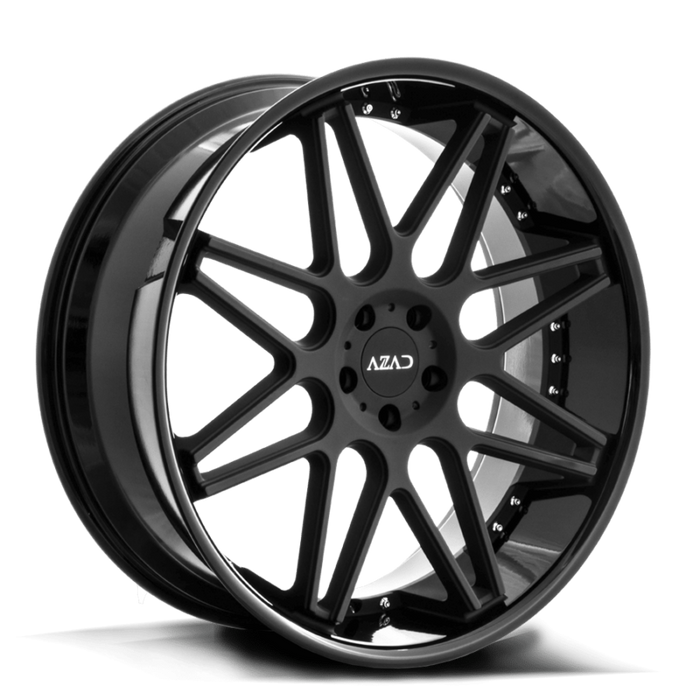Azad Wheels AZ77 Matte Black Face Gloss Black Lip