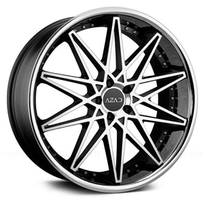 Azad Wheels AZ41 Black Machined Stainless Chrome Lip