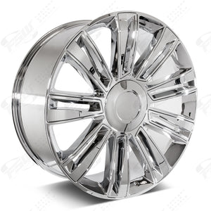Cadillac Wheels F006 22x9 6x139.7 Chrome W Chrome Insert fit Escalade All Diamond Style