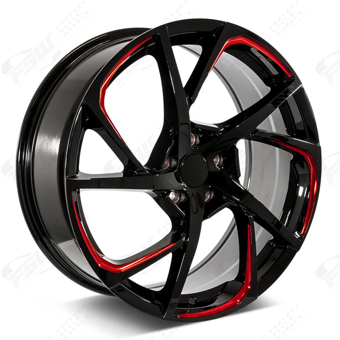 Toyota Wheels F232 20x8 5x114.3 Black Red Pin fit Avalon Camry RAV4 C-HR HSX Style