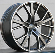 Audi Wheels 1332 22x9.5 5x112 Gunmetal Machined fit A6 S6 A7 A8 Q3 Q5 SQ5 Q7 Q8