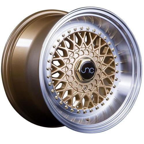 JNC Wheels JNC004S Gold Machined Lip Gold Rivets
