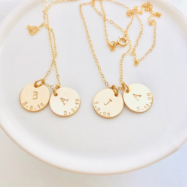 Brooklyn Initial and Date Necklace. The Brooklyn