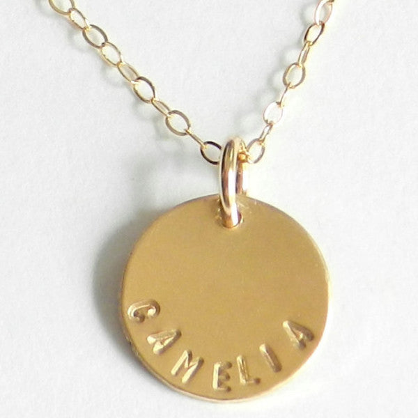 Camelia. Hand-Stamped Name Necklace.