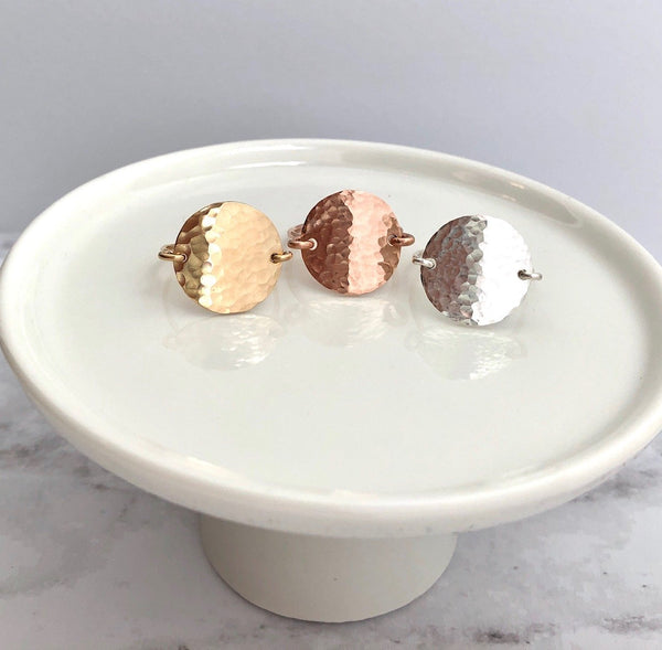Hammered Disc Ring Gold Filled Rose Gold Filled Sterling Silver