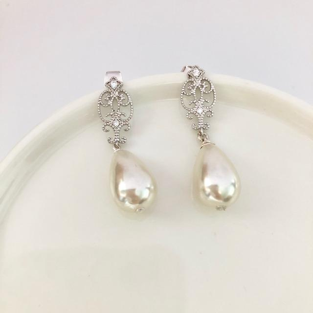 Silver Vintage Bridal Teardrop Pearl Earrings