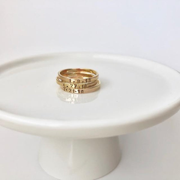 Skinny Stacking Name or Date Ring Gold Filled Sterling Silver