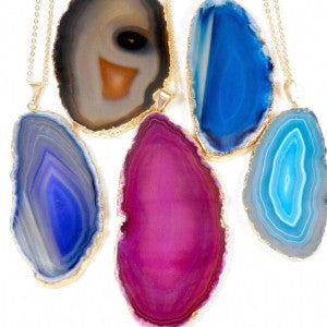 Agate Slice Pendant. Four Colors.
