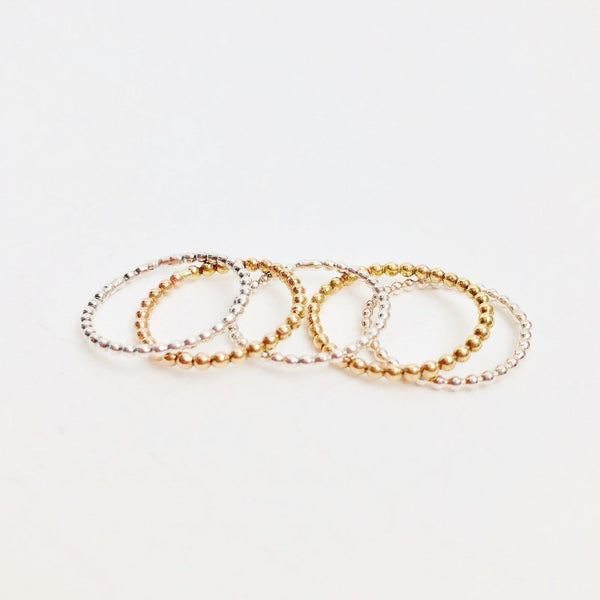 Beaded Stacking Ring.  Gold Filled or Sterling Silver