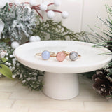 Bezel Ring Rose -Rose Quartz, Howlite, Blue Lace Agate