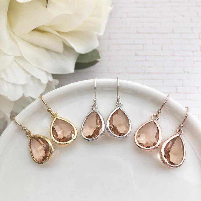 Drop Crystal Earrings Blush