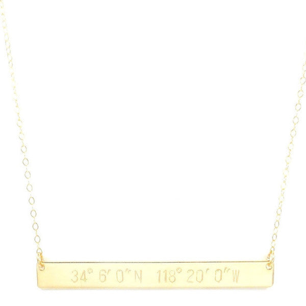 Geographic Coordinate Necklace. Jessica 2.25 Inch Bar