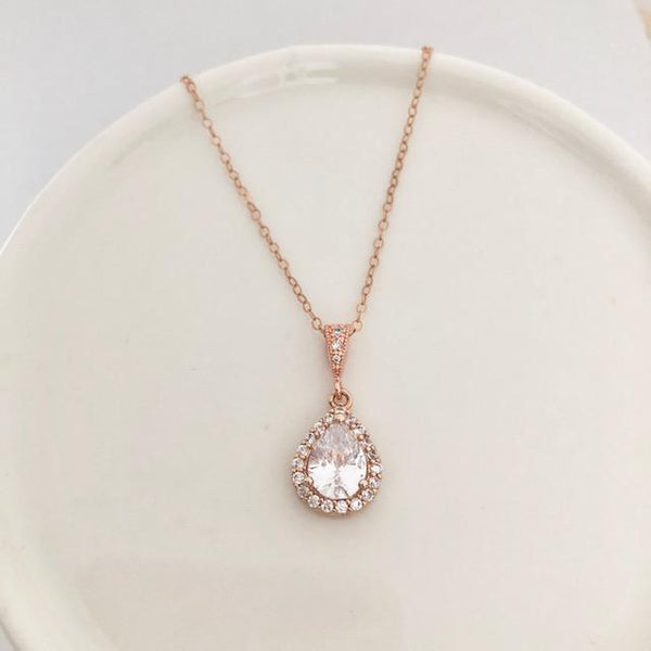 Bridal Necklace - Rose Gold Teardrop
