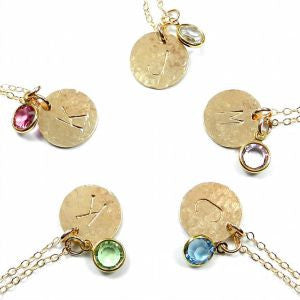 Shelby Initial Necklace with Swarovski Birthstone. The Shelby