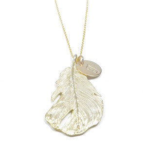 Gold Feather & Charm Necklace.
