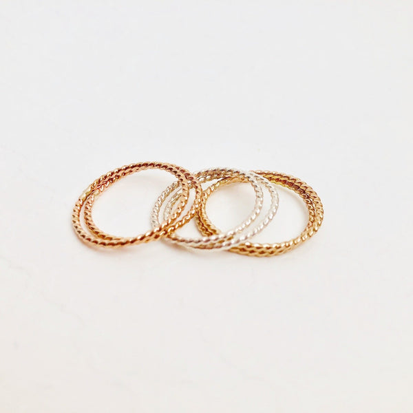 Twisted Stacking Ring.  Gold Filled, Sterling Silver or Rose Gold Filled