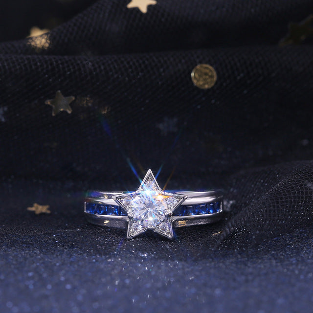 Huitan Navy Style Blue White Color With Shiny Star Shaped Women Rings Micro Paved Factory Direct Selling Rings Dropshipping
